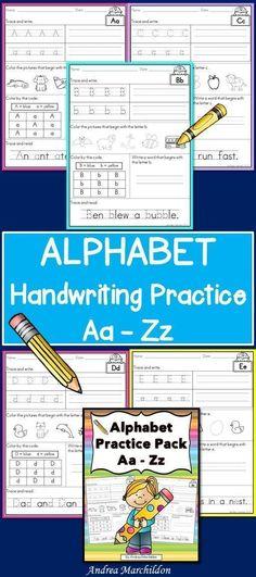 Alphabet Printables A - Z Handwriting Sheets, Handwriting Alphabet, Handwriting Practice, First Grade Phonics, First Grade Activities, Kindergarten Phonics, Literacy, Handwriting Activities, Alphabet Activities
