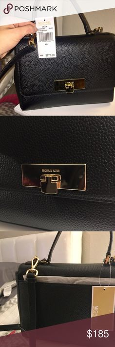 Michael Kors medium size purse ***Brand New with TAGS*** Black leather material with MK in gold. Adjustable strap. Plenty of inside room. Michael Kors Bags Crossbody Bags