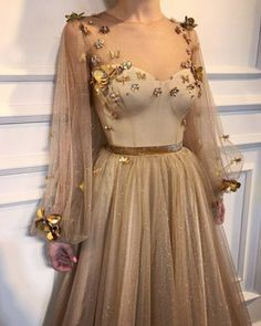 Chic Prom Dresses,A-line Prom Dress,Scoop Prom Dresses,Long Sleeve Prom Dress Pretty Dresses, Beautiful Dresses, Gorgeous Dress, Elegant Dresses, Style Haute Couture, Prom Dresses Long With Sleeves, Dream Dress, Ball Gowns, Evening Dresses