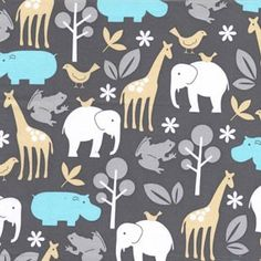 Michael Miller Zoology Animals Sea Fabric- By the Yard. $8.50, via Etsy.