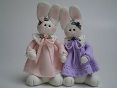 Two Polymer Clay Easter Bunny Rabbits by Helen's by HelensClayArt