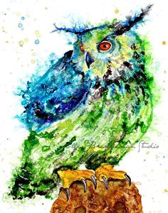 Spirit of Owl hand-signed fine art print by Ellen Brenneman. The Spirit of Owl is part of my series titled: Power Animals of the Planet. This is a fine art print from the original painting which was completed on Yupo paper using acrylic, India and alcohol inks. ABOUT THE PRINT : Printed by the artist on archival, heavyweight matte paper. All of my prints are hand-signed and shipped flat, in a waterproof sleeve with a backing board to prevent any bending during shipment. ~~ Any watermark…