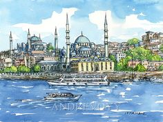 Istanbul Mosques Turkey art print of the original by AndreVoyy
