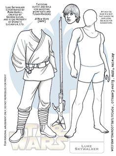 Luke Skywalker Star Wars paper doll