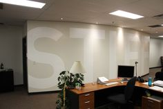 Company logos can make a great impact to enhance your work space. Done creatively they really can add some flair! Hand painted by Mural Magic in Ottawa. Mural Painting, Ottawa, Murals, Hand Painted, Magic, Space, Logos, Business, Table