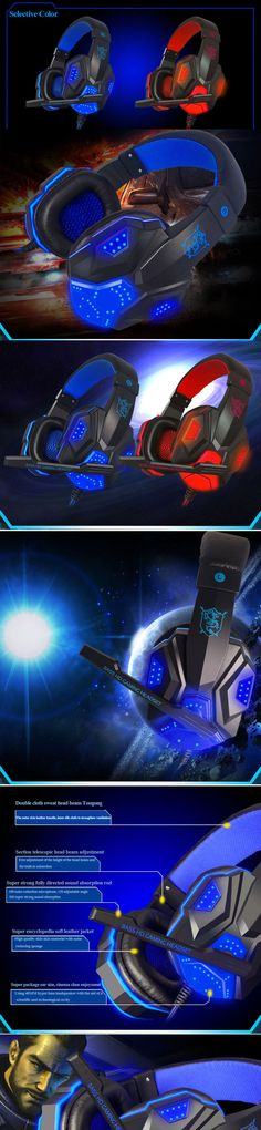 Stereo Gaming Headset PC Computer Headphones with Over-Ear noise cancelling video Gamer headphone LED glowing with mic casque    Double cloth sweat head beam Tougong The outer skin leather handle, inner silk cloth to strengthen ventilation Section telescopic head beam adjustment Free adjustment of the height of the head beam and the built-in subsection machine, which can accurately contr