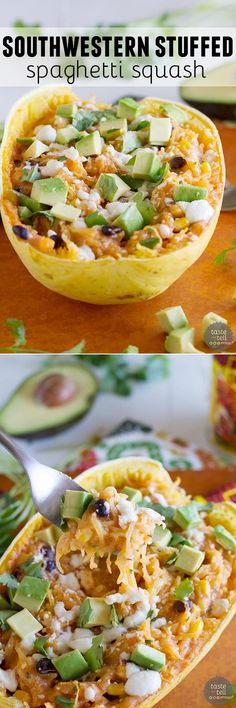 Southwestern Stuffed Spaghetti Squash - This Southwestern inspired stuffed spaghetti squash is a great way to change things up for a meatless meal during the week. It's easy and fast and good for yo (Spaghetti Squash Recipes) Low Carb Recipes, Cooking Recipes, Healthy Recipes, Fast Recipes, Healthy Dishes, Veggie Dishes, Vegetable Recipes, Mexican Food Recipes, Vegetarian Recipes
