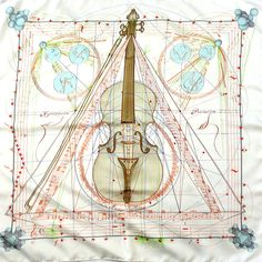 Authentic Vintage Hermes Silk Scarf Musique Des Spheres by Zoe Pauwels Cream Colorway
