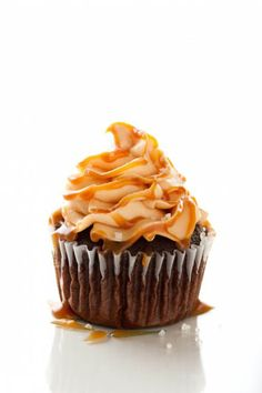 Chocolate Cupcakes with Salted Caramel Frosting- Seriously, best frosting recipe I've ever tried!