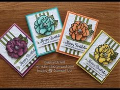 I am not a winter person, so THANKFULLY, Stamping' Up! provides me with product to make me feel happy!  Of course, coloring the flower in one color was not an option. The Stampin' Blends with the Beautiful Day looks great in all 4 colors!