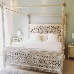 I have a four post bed that I absolutely adore but I think this bed would be even better without the four posts. Post Bed Frame, 4 Post Bed, Bed Frames, Home Bedroom, Bedroom Furniture, Furniture Design, Bedroom Decor, Bedroom Ideas, Bedrooms
