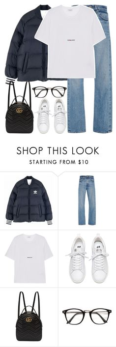 """Untitled #3285"" by elenaday ❤ liked on Polyvore featuring adidas Originals, Brock Collection, Yves Saint Laurent and Gucci"