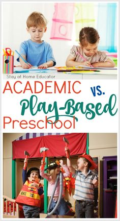 Important reading when it comes to the academic vs. play based preschool decision Important reading when it comes to the academic vs. Preschool Schedule, Preschool Programs, Preschool Centers, Preschool Curriculum, Teaching Kindergarten, Preschool Classroom, Preschool Learning, Preschool Activities, Homeschooling