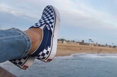 VANS    Checkerboard Classic Slip On at the beach