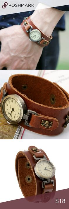 Leather Watch Feature: vintage, european, handmade    Material: leather belt, watch, metal accessories    Watch: electric watch, quartzwerk   Weight: 70g    Makes a great gift for friend and family or self purchase    Birthday gift, Christmas gift, Valentine's gift and etc Accessories Watches