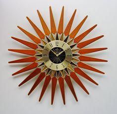 Mid Century Modern Starburst Clock Vintage 1960s by ClubModerne