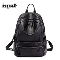 Special price AEQUEEN Leather Backpack Women 2017 New Fashion Solid Casual Backpacks School Bags For Teenagers Girls Travel Bag Black Color just only $23.69 with free shipping worldwide  #womanbackpacks Plese click on picture to see our special price for you