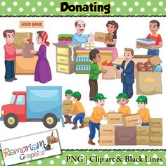 Donations Clip art Donations Clip art set contains images of charity workers…