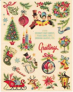 Vintage 1970's transfer decals of Christmas images