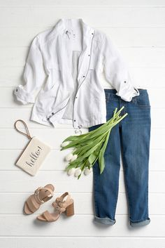Go tip-toeing through the tulips in an easy boyfriend jean—cuffs casually rolled—and a crisp white jacket. A block heel sandal adds just enough polish to this casual look. Featured SONOMA Goods for Life product includes: linen jacket, medium-wash jeans, sandals and wristlet. Get dressed for spring at Kohl's.
