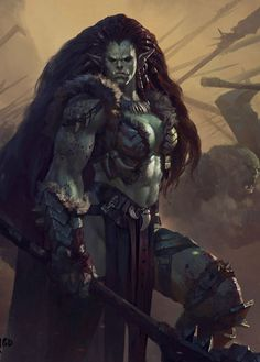 f Orc Barbarian Battle eastern border lg Fantasy Races, High Fantasy, Fantasy Rpg, Fantasy Women, Medieval Fantasy, Fantasy Girl, Fantasy Artwork, Orc Warrior, Fantasy Warrior