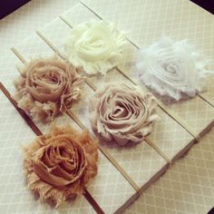 Chiffon Flower Headband - Shabby Chic Frayed Fabric Rose Skinny Elastic Headband - Choose Your Color - Neutral Collection