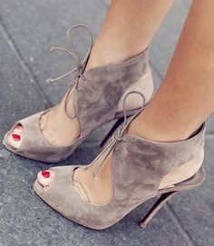 Classy Camel Peep Toe Lace Up Stiletto Heels #style #fashion