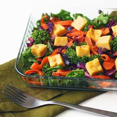 Kale salad with chickpea tofu and balsamic-orange dressing. Vegan, gluten-free, soy-free. - by Maikin mokomin