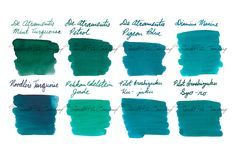 Looking for a terrific turquoise ink for your fountain pen? Try our Blue-Greens package set! It includes 2ml samples of 8 of our most popular blue-green-teal fountain pen ink colors. They are De Atramentis Mint Turquoise, De Atramentis Petrol, De Atramentis Pigeon Blue, Diamine Marine, Noodler's Turquoise, Pelikan Edelstein Jade, Pilot Iroshizuku Ku-jaku, and Pilot Iroshizuku Syo-ro. Pin for later!