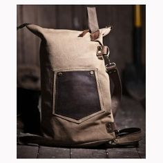 Fashionable backpack Travel package Canvas leather by Love1220, $69.99