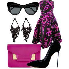 black and pink by souchi26 on Polyvore featuring polyvore fashion style Oscar de la Renta Casadei Sophie Hulme STELLA McCARTNEY