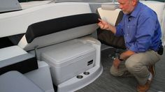 Look at the size of this cooler stowed under the 278 Bow Rider's port side bench seat. It's a full size 48 quart cooler that is kept in place by a raised lip and Cruisers Yachts even provided a cut out in the seat mold for the handles.