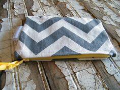 Gray chevron zipper wallet. $13.00, via Etsy.
