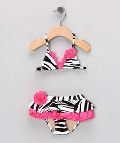 Take a look at this Black Zebra Bikini - Toddler & Girls by Beach Rays on #zulily today!