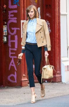 Model Karlie Kloss does a stylish photo shoot for Coach on the streets of New York City, New York on October 21, 2013.