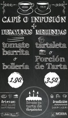 "Javier Arrés Work:  Promotional coffee and tea ""Mokka  Exxum"" blackboard for Valdueza Cake place at madrid."