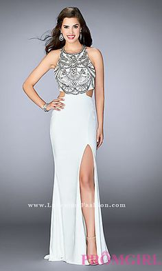 Beaded Long T-Back La Femme Prom Dress at PromGirl.com