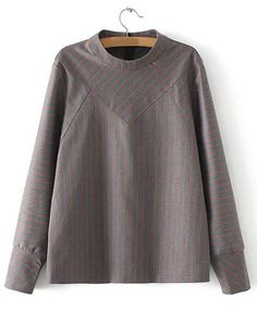 Trendy Stand Collar Long Sleeves Striped Blouse For Women