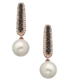 Rose Gold Black and White CZ with Pearl Drop Earrings