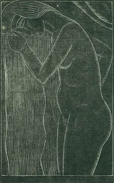 Eric Gill: Hair Combing (Portrait of Petra Gill). 1922. Wood engraving. Physick 208. 4 x 2 1/2 (sheet 6 5/8 x 4 1/16). Proof printed on Japanese mulberry paper. Unsigned.