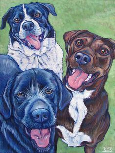 3 Mixed Breed Dogs, Painting in Acrylic On Canvas from Pet Portraits by Bethany.