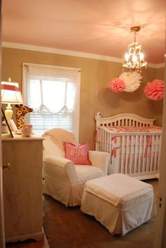 pink ceiling in girls room -- would be easy to switch out when a boy comes later on!  Love the colors!