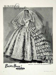 1956 Ad Vintage Wedding Dress Bride Bridal Gown Ruffles Fashion YBSM1 | eBay