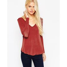 ASOS The New Forever T-Shirt With Long Sleeves In Soft Touch (€20) ❤ liked on Polyvore featuring tops, t-shirts, terracotta, asos t shirts, red v neck t shirt, red t shirt, red tee and lightweight long sleeve t shirts