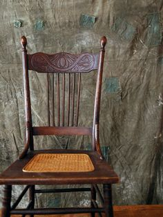 Antique Wood Chair // Caned Seat Chair