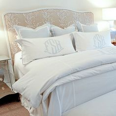 You're bound to have sweet dreams in this beautiful bed! Room designed by Munger Interiors #leontinelinens
