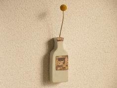 ワインボトルの壁飾り(白) - 古荘美紀