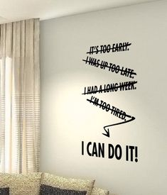 I Can Do It Workout Motivational Fitness Gym Life workout Quote wall vinyl decals stickers DIY Art Decor Bedroom Home Happiness Office Wall Design, Home Gym Design, Study Motivation Quotes, Fitness Motivation, Workout Fitness, Muscle Fitness, Office Inspiration, Wall Quotes, Life Quotes