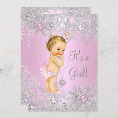 Invitación Chica Baby Shower Rosa Wonder Land Blonde