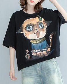Oversize cat t shirt loose animal short sleeve tops for teenage girls
